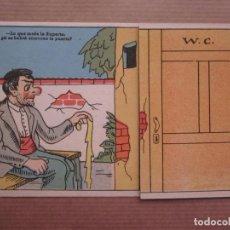 Postales: GRACIOSA POSTAL CON OBERTURA RESPUESTA AL CHISTE, SEÑOR Y SEÑORA EN W.C.. Lote 64014635