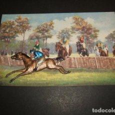 Postales: HIPICA POSTAL 1910 JINETES EN CARRERA DE CABALLOS JINETE DE APLIQUE . Lote 65987478