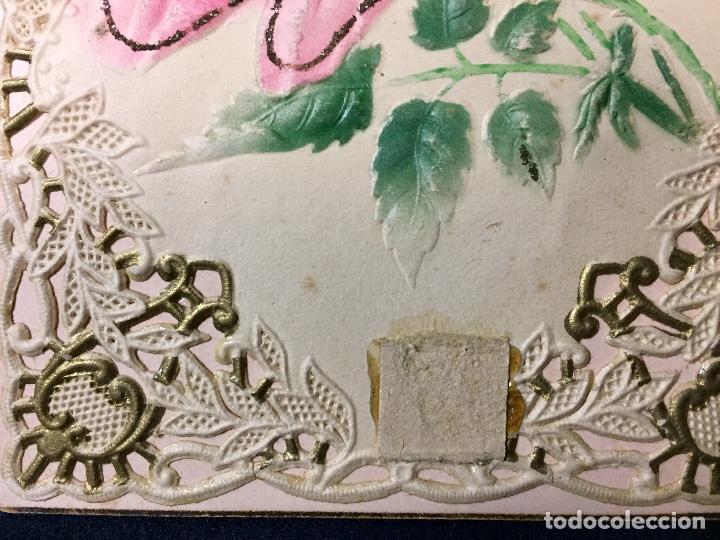 Postales: 1911 postal felicitacion rosas troquelada relieve recortada - Foto 2 - 66715726