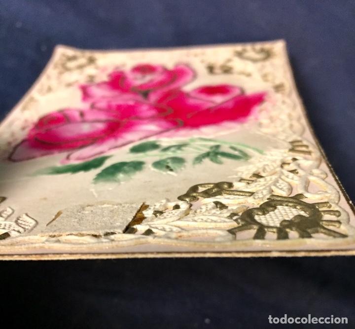 Postales: 1911 postal felicitacion rosas troquelada relieve recortada - Foto 4 - 66715726