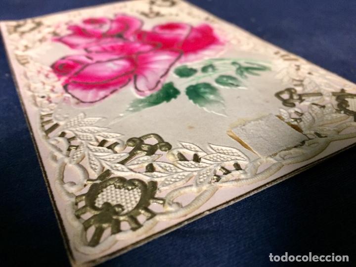 Postales: 1911 postal felicitacion rosas troquelada relieve recortada - Foto 5 - 66715726