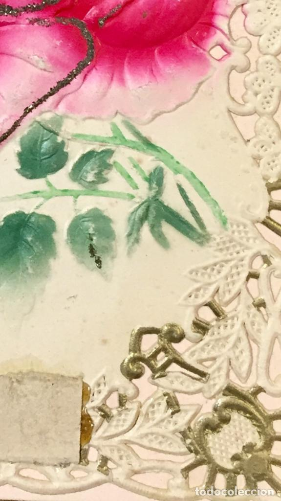 Postales: 1911 postal felicitacion rosas troquelada relieve recortada - Foto 6 - 66715726