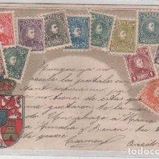 Postales: TARJETA POSTAL CON IMÁGENES DE SELLO DE ALFONSO XIII OTTMAR ZIEHER MUNICH. CIRCULADA. Lote 66741366
