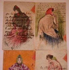 Postales: 4 POSTALES DE RAMÓN CASAS DE LA SERIE MANOLAS. Lote 67484617