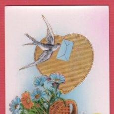 Postales: TARJETA POSTAL DE FELICITACIÓN CON IMAGEN DE UNA PALOMA MENSAJERA BARCELONA AÑO 1957 P123. Lote 71228487