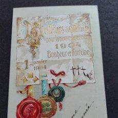 Postales: 1904 BONHEUR Y FORTUNA ORIGINAL TARJETA. Lote 71979979