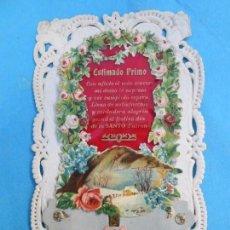 Postales: POSTAL DIORAMA CON PROFUNDIDAD , FELICITACION , ESTJMADO PRIMO - PRIMEROS AÑOS 1900. Lote 72893699