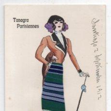 Postales: ANTIGUA POSTAL TANAGRA PARISIENNES. FRANQUEADA EN 1912. CON RELIEVE DE TELA Y PUNTILLA.. Lote 72932967