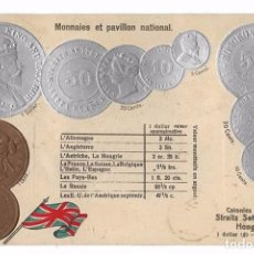 Postales: POSTAL MONEDAS DEL MUNDO - COLONIAS INGLESAS - STRAITS SETTLEMENTS ET HONGKONG - RELIEVE. Lote 72955999