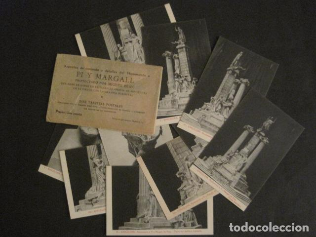 Postales: BARCELONA -MONUMENTO PI Y MARGALL-COLECCION 10 POSTALES ANTIGUAS- CON SOBRE FUNDA-VER FOTOS-(46.419) - Foto 2 - 74409239