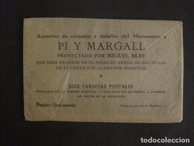 Postales: BARCELONA -MONUMENTO PI Y MARGALL-COLECCION 10 POSTALES ANTIGUAS- CON SOBRE FUNDA-VER FOTOS-(46.419) - Foto 3 - 74409239