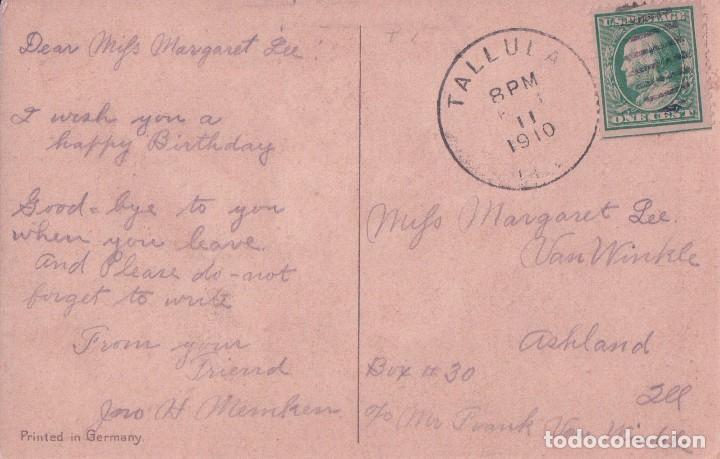 Postales: POSTAL A HAPPY BIRTHDAY. FELIZ CUMPLEAÑOS. FLORES DE AMAPOLAS ROJAS CON FONDO VERDE. CIRCULADA - Foto 2 - 74699103