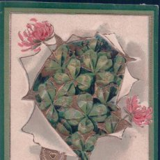 Postales: POSTAL DE LA SUERTE - TREBOL - TREBOLES - BEST WISHES - CIRCULADA1909 - RELIEVE. Lote 78450381