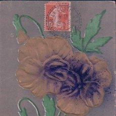 Postales: POSTAL EN RELIEVE FLOR - AMITIES - CIRCULADA 1910. Lote 78451805
