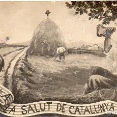 Postales: PS7521 POSTAL CATALANISTA 'A LA SALUT DE CATALUNYA'. FOTOGRÁFICA. CIRCULADA. 1907. Lote 82297300