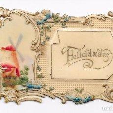 Postales: TROQUELADA Y PUNTILLA. FELICITACIÓN CON MOLINO . COLOREADA. MAGNIFICA. Lote 82927984
