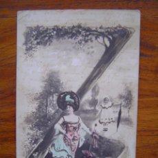 Postales: POSTAL ROMANTICA LETRAS / NUMEROS - CON LA LETRA Z - SIN DIVIDIR - CON PURPURINA. Lote 85873860