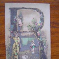 Postales: POSTAL ROMANTICA LETRAS / NUMEROS - CON LA LETRA R - CON PURPURINA - SIN DIVIDIR. Lote 85874040