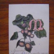 Postales: POSTAL ROMANTICA LETRAS / NUMEROS - CON LA LETRA M - CON PURPURINA - SIN DIVIDIR. Lote 85874500