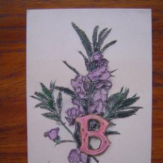 Postales: POSTAL ROMANTICA LETRAS / NUMEROS - CON LA LETRA B - CON PURPURINA - SIN DIVIDIR. Lote 85874588