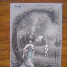 Postales: POSTAL ROMANTICA LETRAS / NUMEROS - CON LA LETRA C - CON PURPURINA - SIN DIVIDIR. Lote 85874708