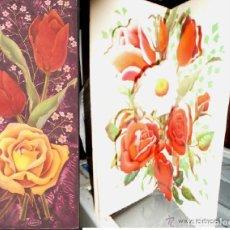 Cartes Postales: FELICITACIÓN TROQUELADA JOAN * ROSAS, TULIPANES Y MARGARITA * 1963. Lote 221865766