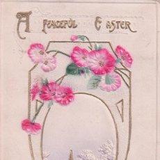 Postales: POSTAL EN RELIEVE PAISAJE POLLITO - A PEACEFUL E ASTER - CIRCULADA 1912. Lote 92153145