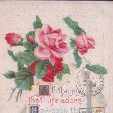 Postales: POSTAL RELIEVE CIRCULADA 1919 - ROSAS - . Lote 92221985