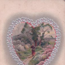 Postales: POSTAL RELIEVE - CORAZPM - PAISAJE - HEARTY CONGRATULATIONS. Lote 93081755