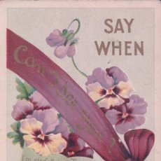 Postales: POSTAL EN RELIEVE - SAY WHEN CAN DEE YOU - SERIE 122 - FLORES. Lote 93082405