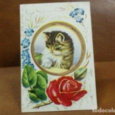 Postales: POSTAL ANTIGUA DESPLEGABLE: GATITO Y ROSAS. Lote 93643245