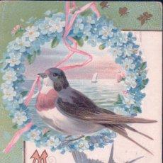 Postales: POSTAL EN RELIEVE - FELIZ CUMPLEAÑOS - PAJARO - BARCO -CIRCULADA. Lote 94488110