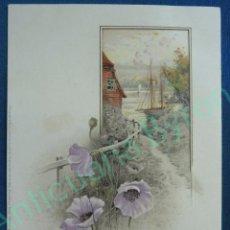 Postales: POSTAL ANTIGUA EN RELIEVE. FLORES. BARCO. AÑO 1907. Lote 95336347