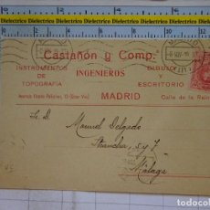 Postales: POSTAL CARTA COMERCIAL. AÑOS 10 20. MÁLAGA. CASTAÑÓN Y COMP INGENIEROS MADRID. TOPOGRAFÍA. 694. Lote 96075775