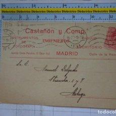 Postales: POSTAL CARTA COMERCIAL. AÑOS 10 20. MÁLAGA. CASTAÑÓN Y COMP INGENIEROS MADRID. TOPOGRAFÍA. 695. Lote 96075779