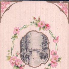 Postales: POSTAL BEST WISHES - MUCHA SUERTE - FLORES ROSAS Y DIBUJO GRABADO EN EL CENTRO - SERIES 13 - SB. Lote 96746311