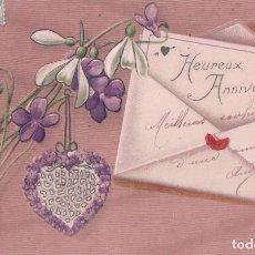 Postales: POSTAL EN RELIEVE - CARTA - FLORES - CORAZON - CIRCULADA 1907 - SERIE 1320 K.V.I.B 12. Lote 96798779
