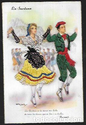 POSTAL BORDADA FREIXAS * LA SARDANA * 1955 (Postales - Postales Temáticas - Especiales)