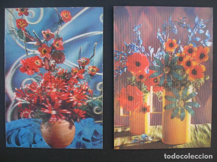 2 POSTALES HOLOGRAFICAS 3D. ESCUDO DE ORO. EDICIONES FISA. JARRONES CON FLOR. SIN CIRCULAR (Postales - Postales Temáticas - Especiales)
