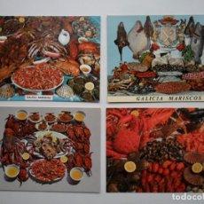 Postales: 4 POSTALES DE MARISCOS DE GALICIA. NUEVAS. SIN CIRCULAR. Lote 104175459
