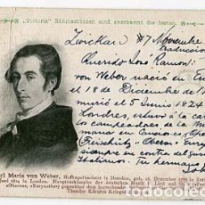 Postales: POSTAL: MUSICO ALEMAN CARL MARIA VON WEBER. DAS GROSSE JAHRHUNDERT. REVERSO SIN DIVIDIR AÑO 1898. Lote 108731431