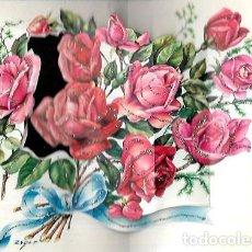 Postales: FELICITACION TROQUELADA ZSOLT * RAMO ROSAS * ADORNADA CON PURPURINA. Lote 172352862
