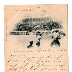 Postales: ENTREGA DE LA LLAVE. CORRIDA DE TOROS. HAUSER Y MENET. CON SELLO ALFONSO XIII PELON.. Lote 110241715