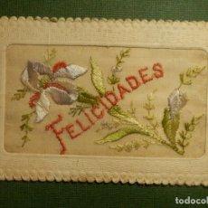 Postales: POSTAL - ESPECIAL - BORDADA - FELICIDADES - ROVIRA - ESCRITA EN EL AÑO 1927. Lote 111304015