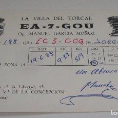 Postales: TARJETA - POSTAL RADIO AFICIONADO RADIOAFICIONADO VILLANUEVA DE LA CONCEPCION MALAGA ESP. Lote 112715155