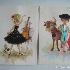 Postales: 2 POSTAL SEVILLANA Y TORERO BORDADA 3D DE COMERCIAL PRAT RIPOLL LESTER (AÑOS 60).. Lote 112892923