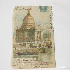 Postales: POSTAL DE TRANSPARENCIA DE PARIS. 1904. BORDES COMIDOS. Lote 113954139