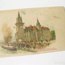 Postales: POSTAL DE TRANSPARENCIA DE PARIS. EXPOSICION UNIVERSAL DE 1900. PABELLON REAL DE HUNGRÍA. Lote 113956263