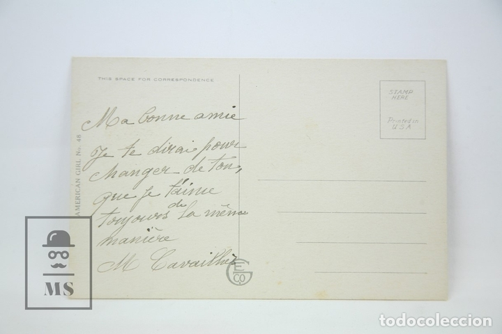 Postales: Antigua Postal Ilustrada - Mujer Leyendo Carta / American Nº 48 - Ed. Edward Cross - Años 30 - Foto 2 - 115093139