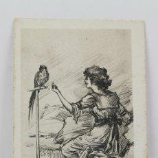 Postales: ANTIGUA POSTAL ILUSTRADA - MUJER CON PÁJARO Nº 146-4 - ED. IPA - AÑO 1928. Lote 115093767